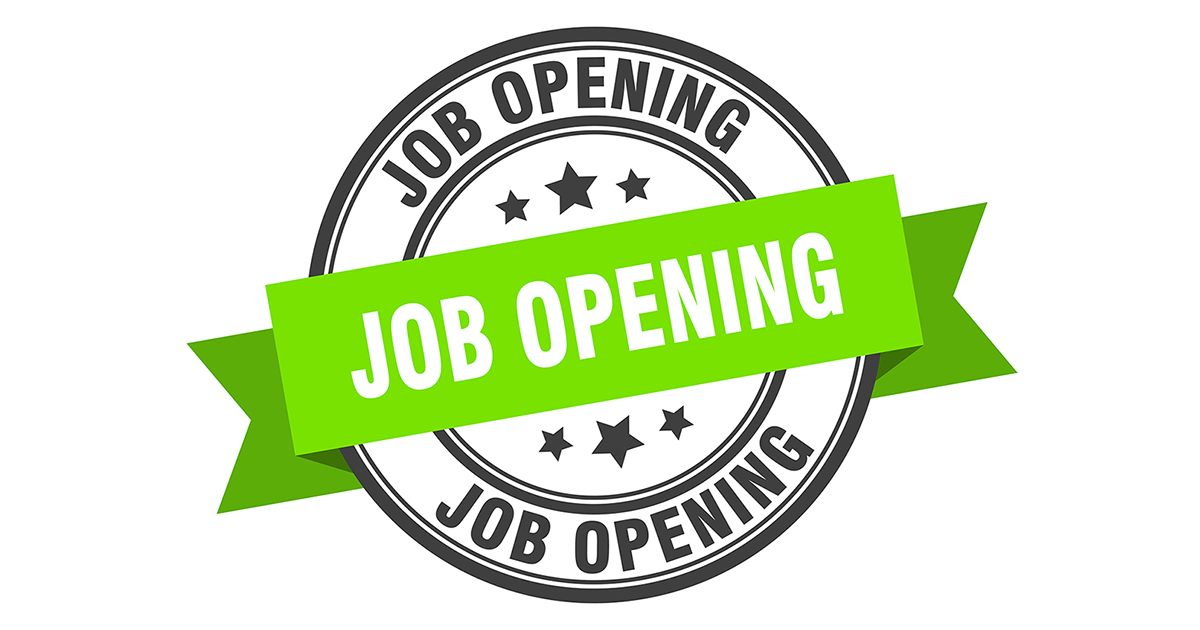 job opening label sign. round stamp. band. ribbon